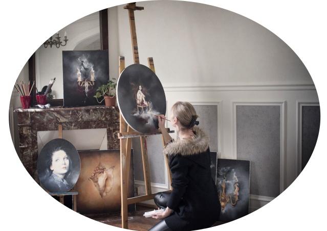 Oil canvas portrait sylvie monthule artiste painter